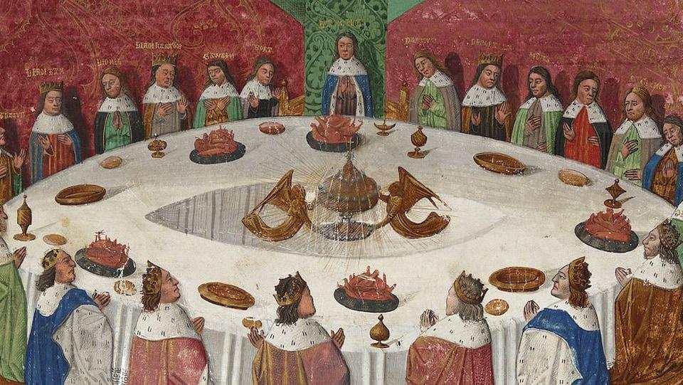 Le roi Arthur, les chevaliers de la Table ronde et le Graal dans une miniature datant du 15e siècle