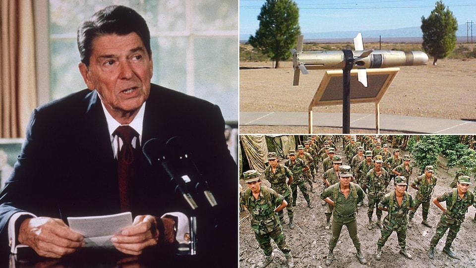 Ce montage d'image montre le président Ronald Reagan en 1985, un missile TOW et des soldats du mouvement contra au Nicaragua dans les années 1980.