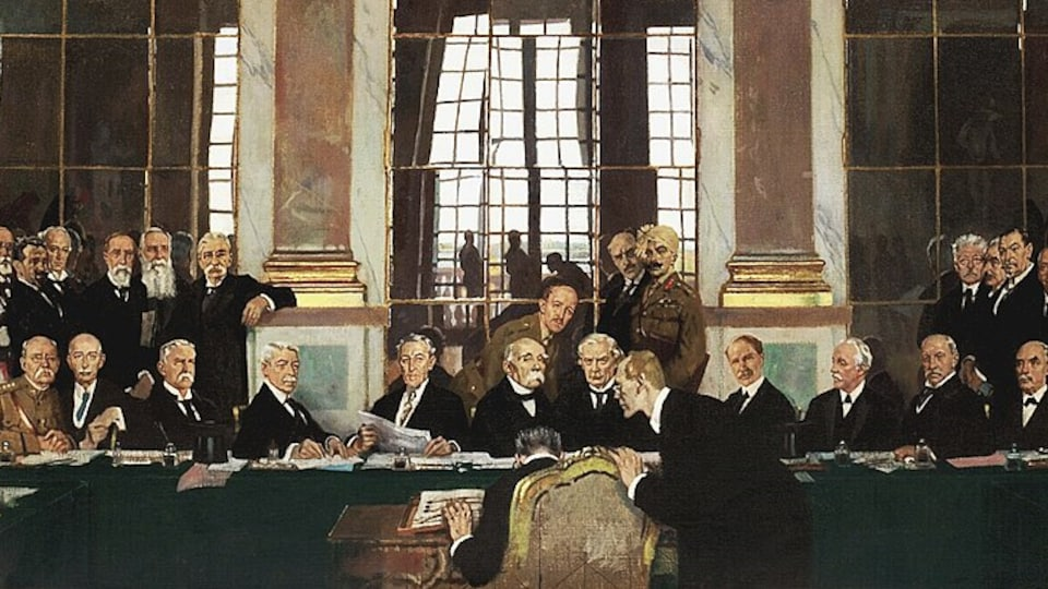 Peinture illustrant la signature du traité de Versailles.
