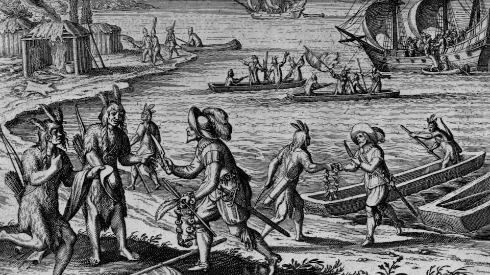 Des colons commerçant avec les Premières Nations.