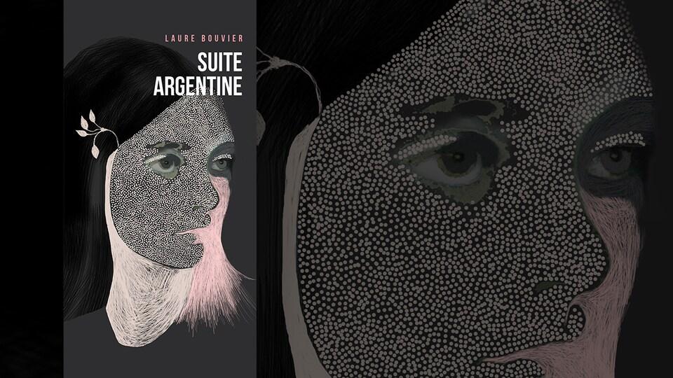La couverture du livre «Suite argentine» de Laure Bouvier : illustration représentant le visage d'une femme de trois quarts colorié en partie en rose, avec une fleur dans les cheveux