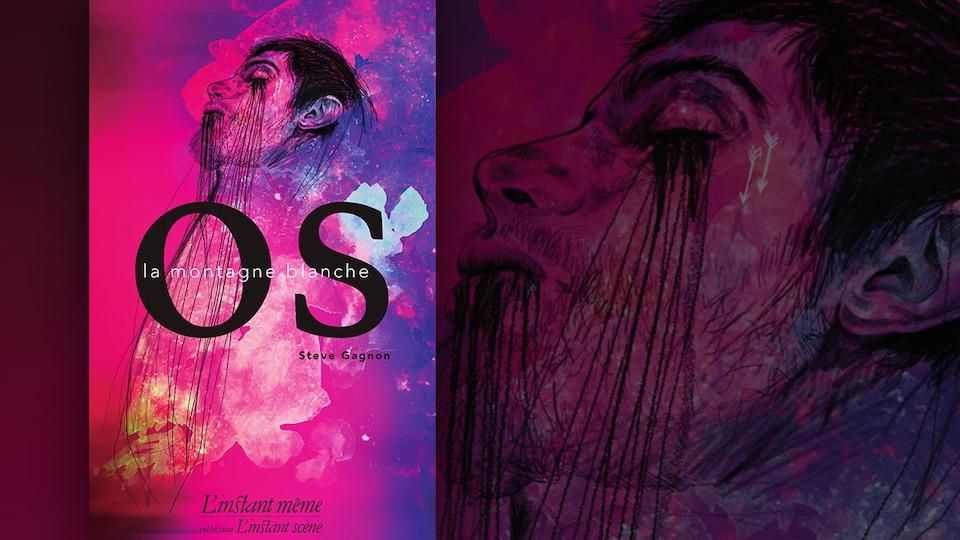 La couverture du livre «Os la montagne blanche» de Steve Gagnon : illustration sur fond rose et mauve d'un visage d'homme de profil à la tête renversée vers l'arrière, les yeux fermés, avec du sang qui coule de ses yeux et de sa bouche.