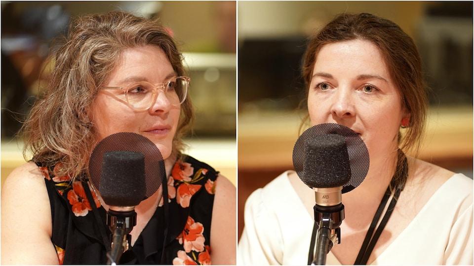 Les sœurs Irène et Marielle Lumineau au micro de Catherine Perrin.