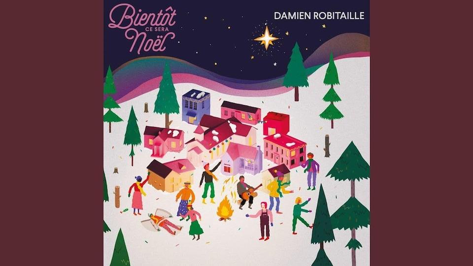 La couverture de l'album a une illustration d'une fête dans un village de Noël