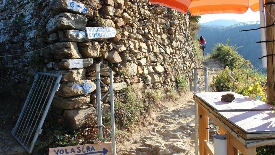 Sentier pédestre rocheux à côté d'un mur de pierre.