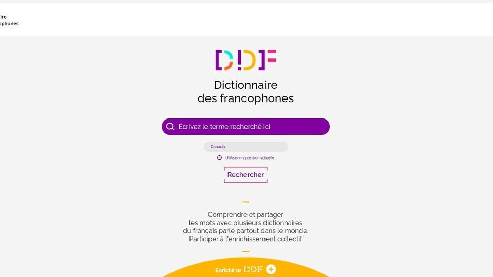 Capture d'écran du site web du Dictionnaire des francophones.