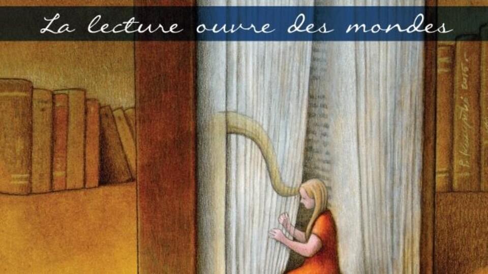 Image d'une jeune fille qui joue de la harpe devant un livre géant.
