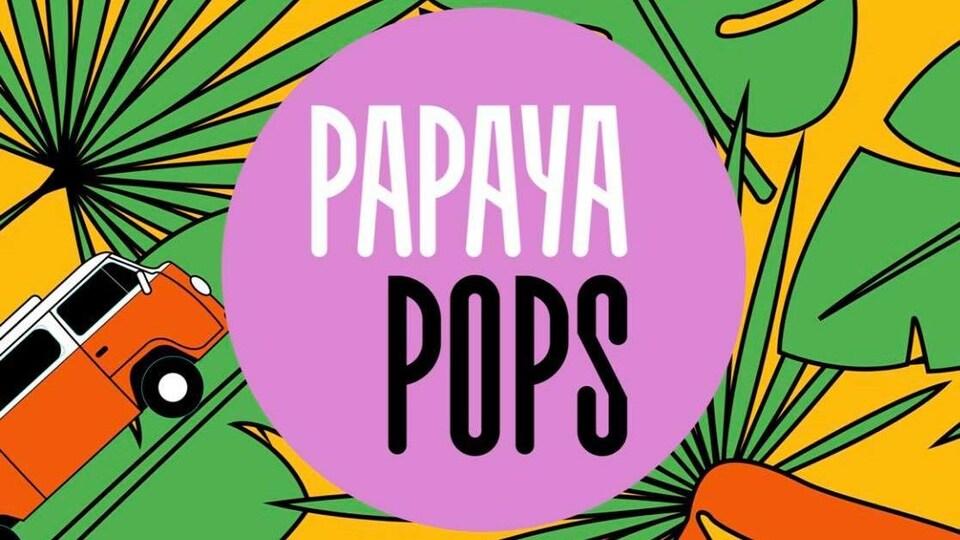 Le Logo de Papaya Pops affiche des feuilles, une fourgonnette, des mûres et des papayes.