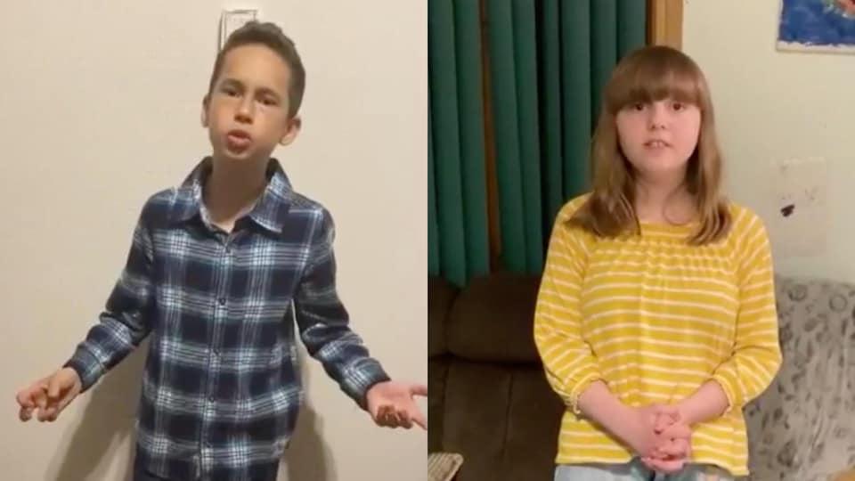 Capture d'écran des deux jeunes entrain de chanter.