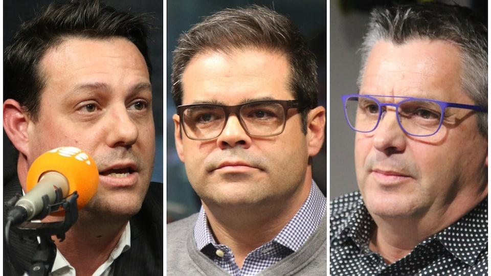 Trois hommes parlent au micro.