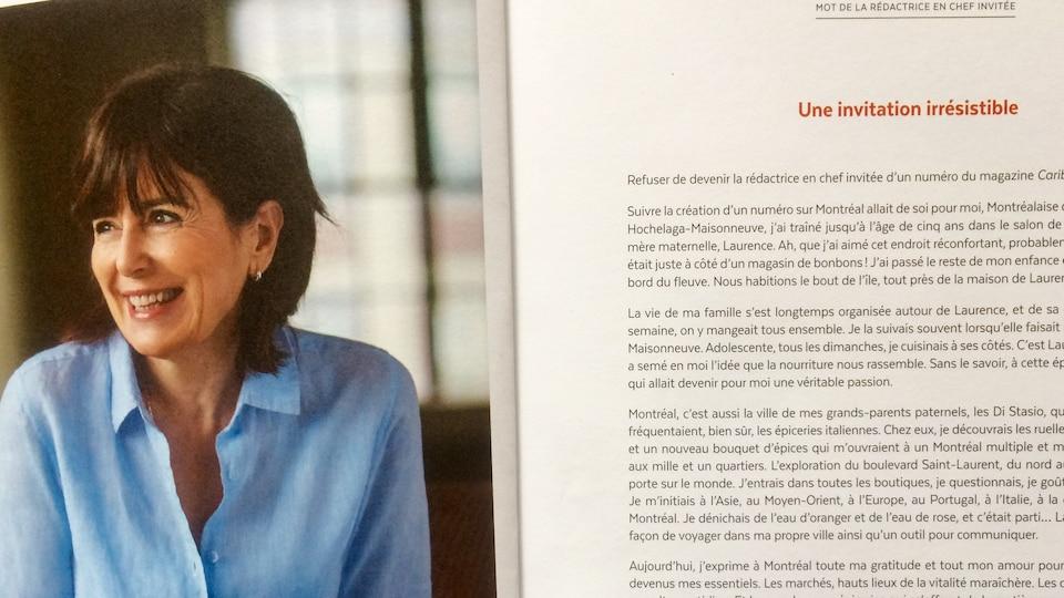 La page de la rédactrice en chef invitée de la revue culinaire « Caribou ». Josée di Stasio avec son mot et sa photo à gauche