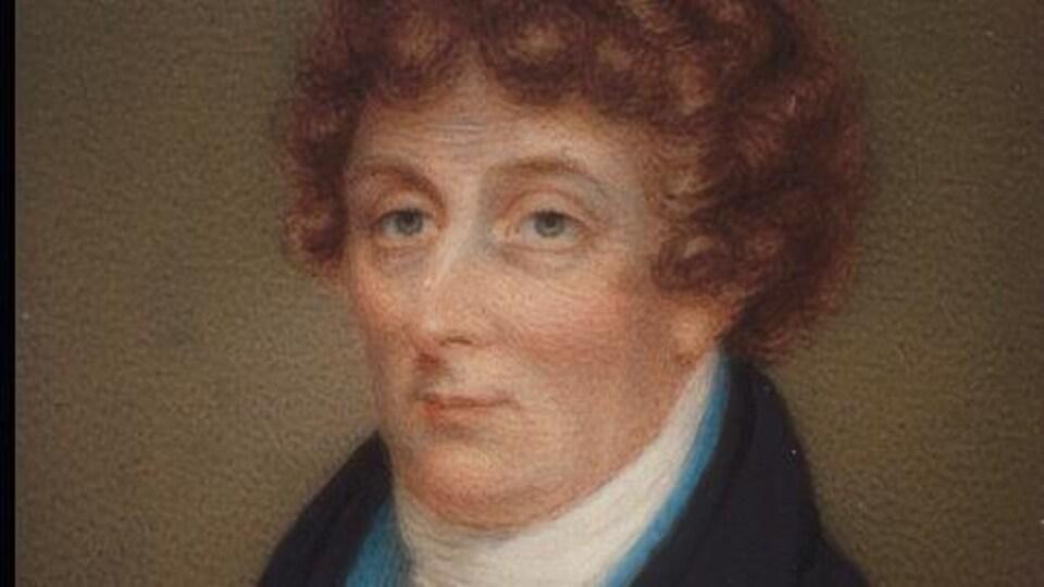 Peinture présentant le portrait d'un homme à la fin du 18e siècle.