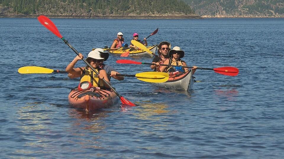 Des kayakistes sur l'eau.