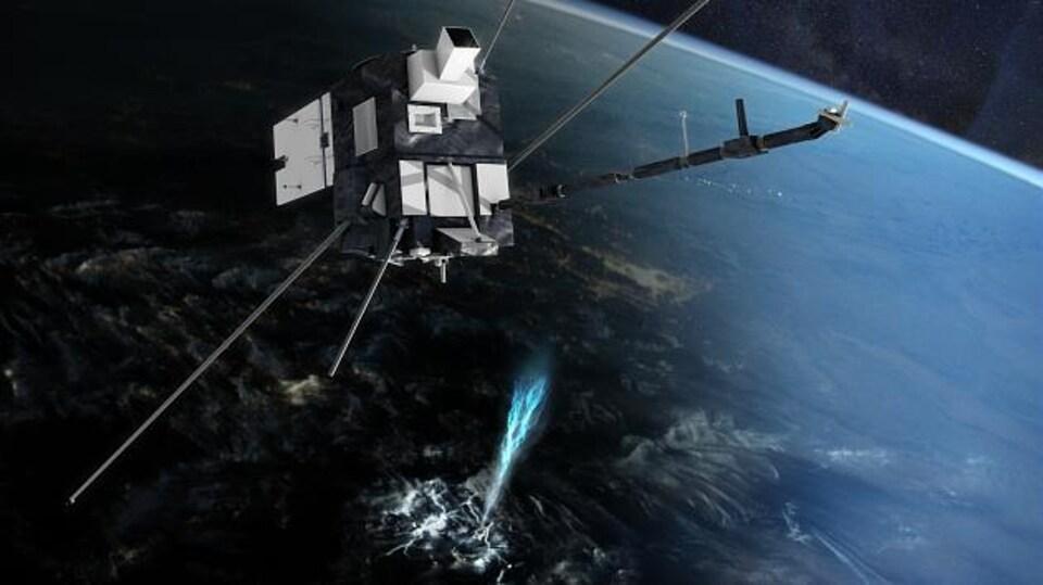 Une illustration montre un satellite en orbite autour de la Terre, surplombant une émission de lumière bleue qui jaillit vers le haut, au-dessus des nuages.