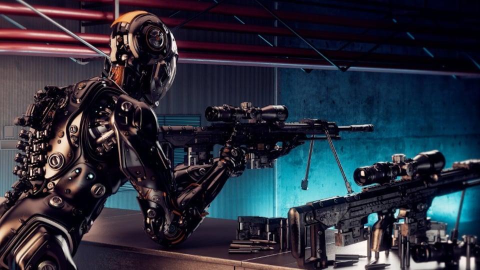 Un robot qui tient un fusil de type «sniper»