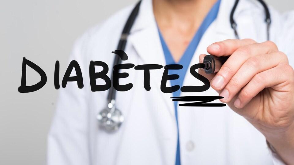 Un médecin qui écrit le mot diabètes sur une vitrine.