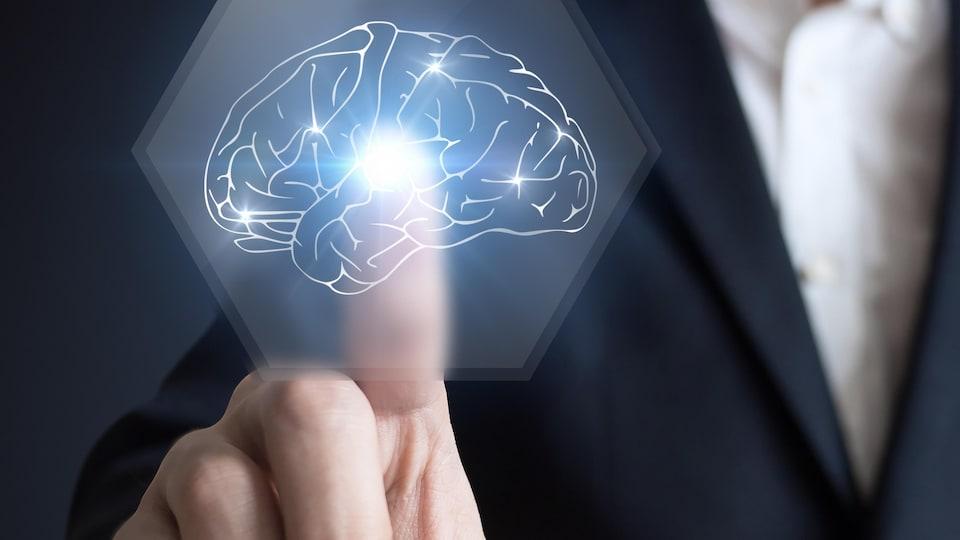 Un homme pointe une infographie de cerveau.