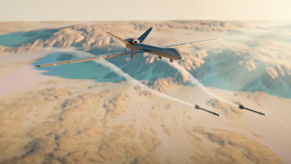 Un drone qui lance des missiles.