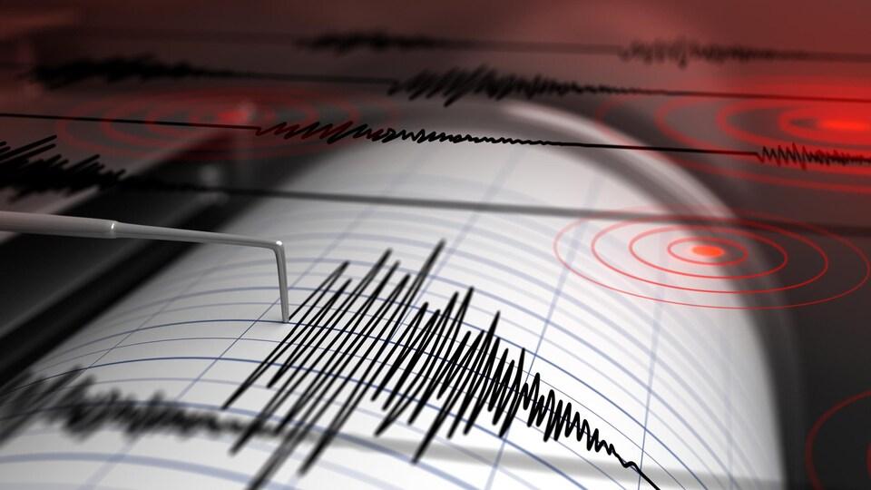 Une onde captée par un sismographe.