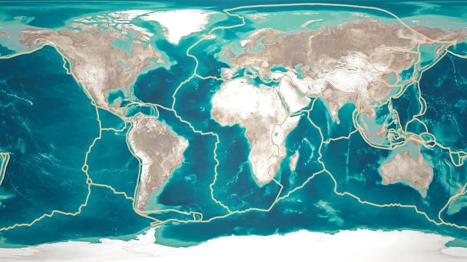 Une carte du monde sur laquelle apparaît le tracée des différentes plaques tectoniques.