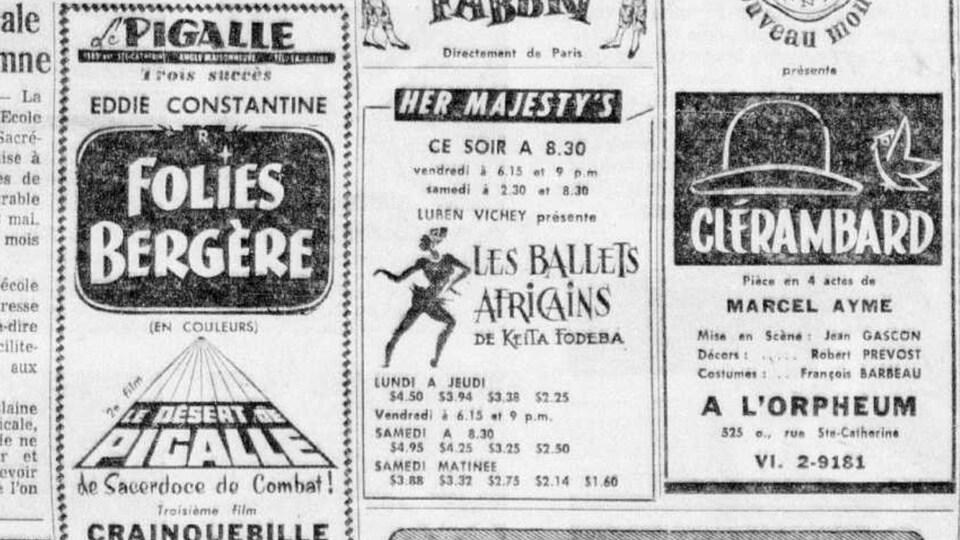 Archives du journal La Presse, présentant Les Ballets africains au théâtre Her Majesty's.