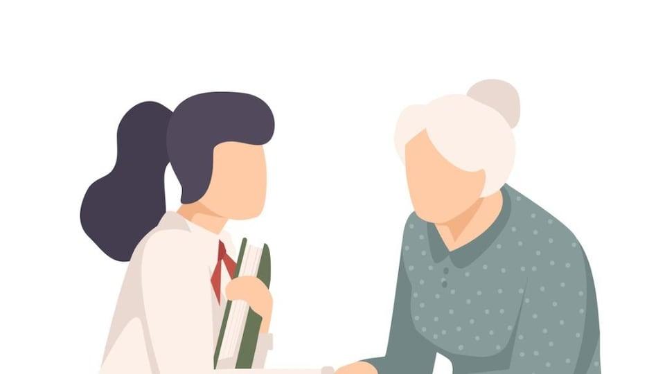 Illustration d'une jeune femme et d'une aînée.