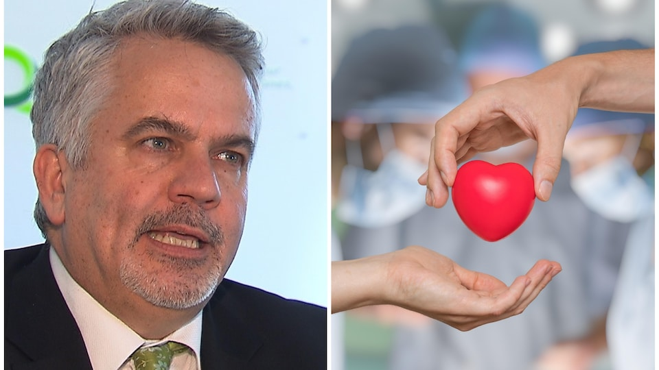 Montage photo d'un homme qui parle et d'une main qui passe un objet en forme de cœur à une autre main avec en arrière-plan des chirurgiens.