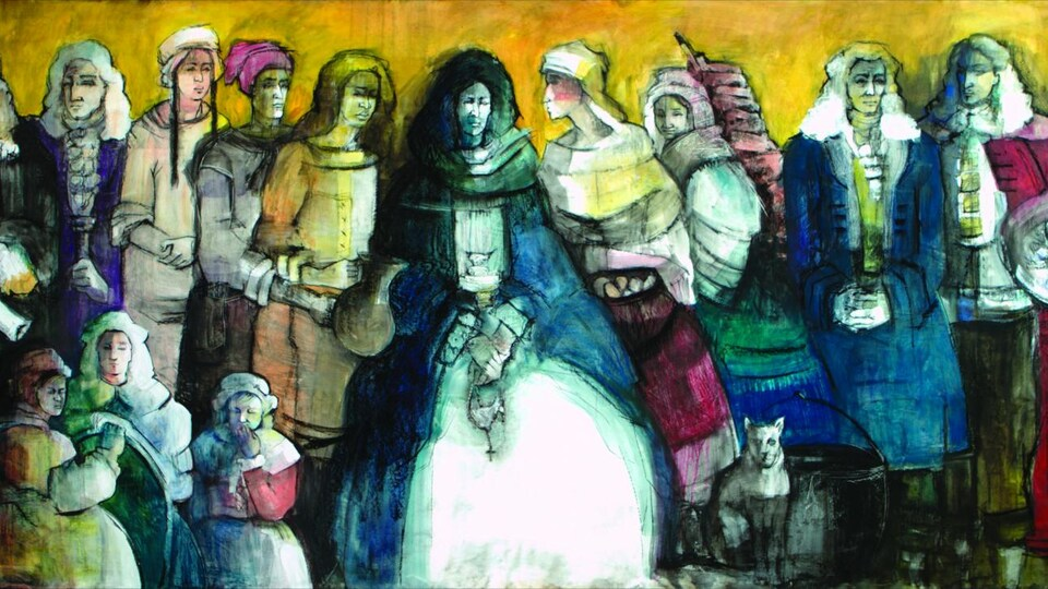 Fresque de personnages peinte par Marie-Denise Douyon, en lien avec l'incendie du 10 avril 1734 à Montréal. On y voit notamment Marie-Josèphe dite Angélique, esclave noire ayant été accusée d'allumer l'incendie.
