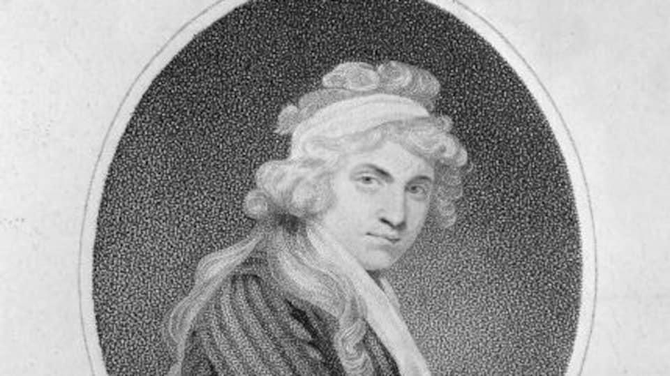 Un portrait d'elle en noir et blanc fait au 18e siècle