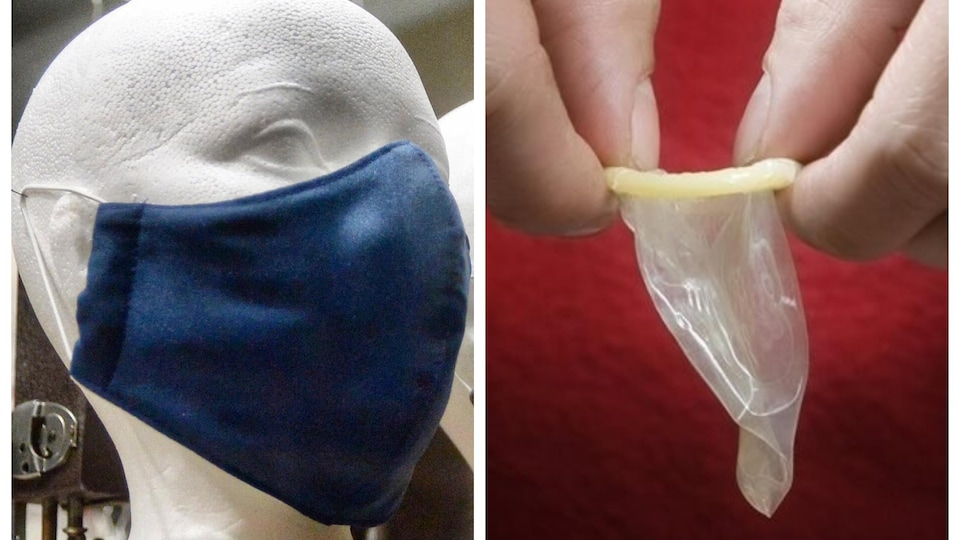 À gauche, une tête de mannequin portant un masque; à droite, des mains qui déroulent un condom.