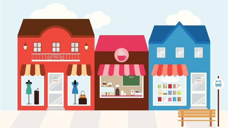 Illustration de boutiques de quartier