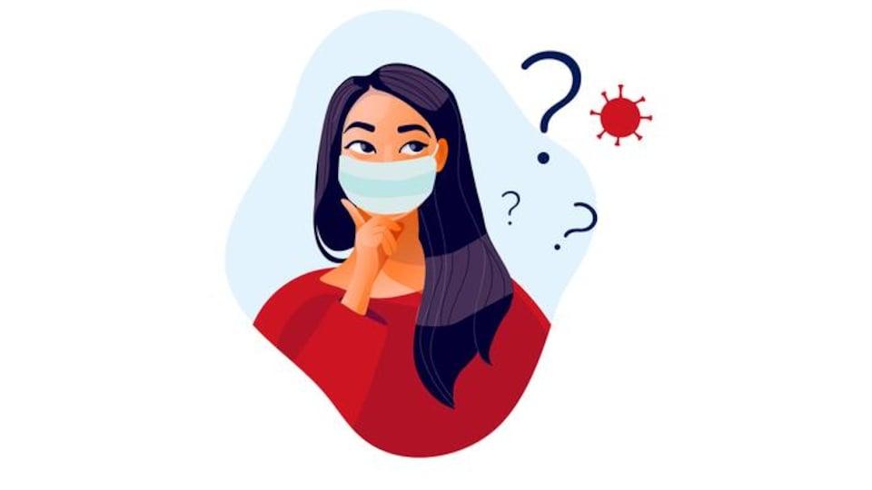 Illustration d'une femme portant un masque accompagnée de points d'interrogations et une image du coronavirus.