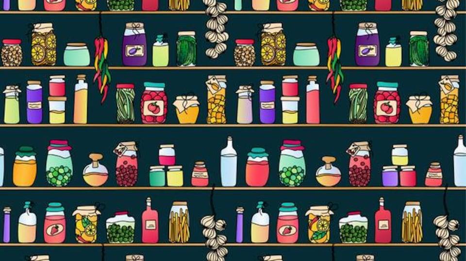 Illustration d'une étagère remplie de conserves et de marinades.