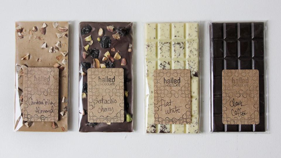4 barres de chocolat de Hailed Chocolate.