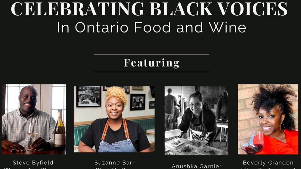 Affiche promotionnelle de l'événement «Celebrating Black Voices in Ontario Food and Wine» qui présente Steve Byfield, Suzanne Barr, Anushka Garnier et Beverly Crandon.