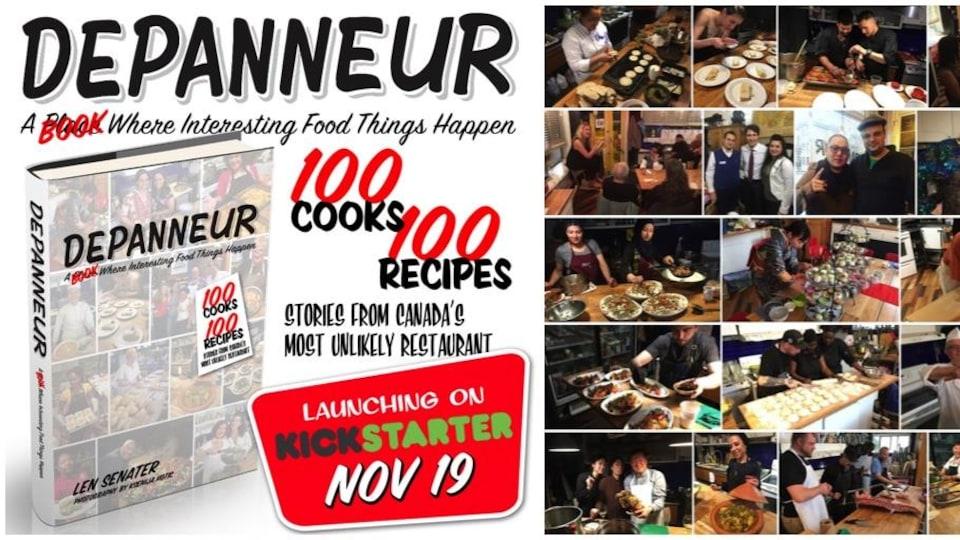 Montage d'images du Dépanneur annonçant la campagne de sociofinancement pour la publication d'un livre de recettes.