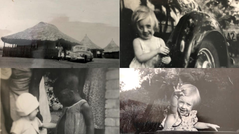 Montage de quatre photos d'époque de l'enfance de Marie-Claude Hansenne au Congo.