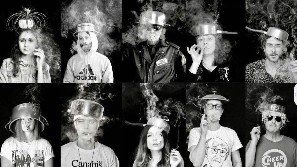 Collage de photos noir et blanc de personnages fumant du cannabis avec un pot sur la tête.
