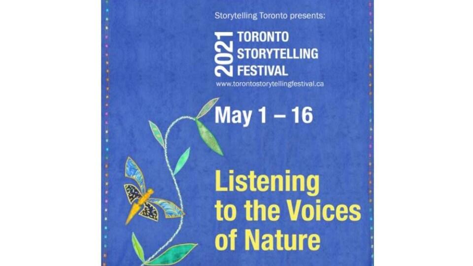 Affiche du Festival du conte de Toronto : une illustration représente une branche et un papillon sur fond bleu.