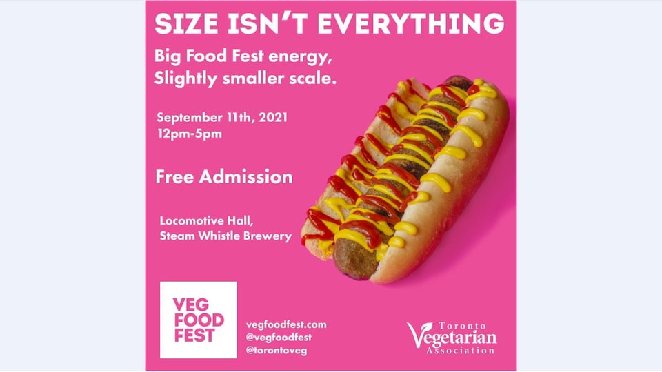 Affiche publicitaire du Veg Food Fest de Toronto qui présente les informations de l'événement accompagné d'un hot-dog.