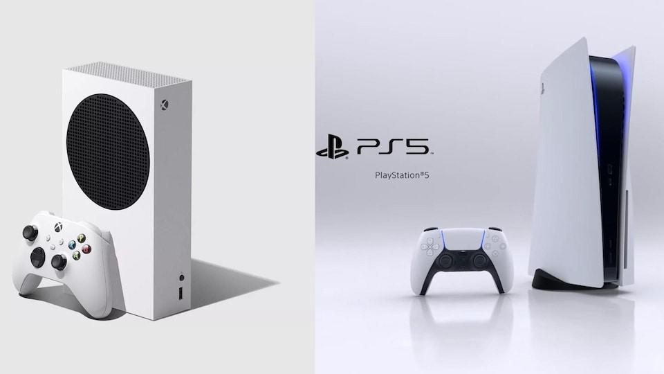 Montage de photos qui comprend une console Xbox Series X et la console, une manette et le logo de la PlayStation 5.