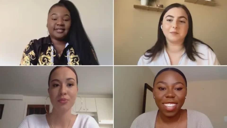 Tiffany Mongu,Sara Jabakhanji, Breanna Xavier-Carter et Rosemary Akpan sur un écran