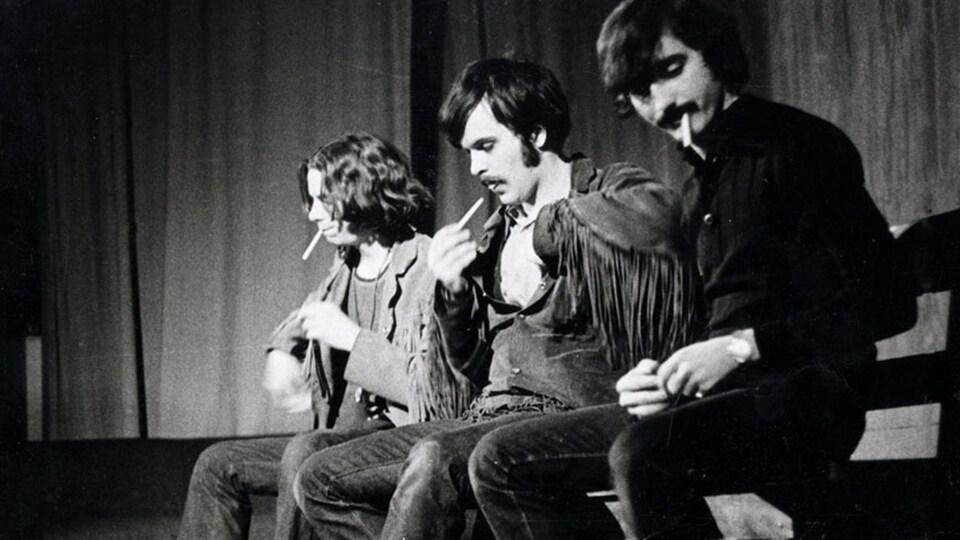 André Paiement, Gaston Tremblay et Denis Courville dans la pièce « Moé j'viens du Nord stie »