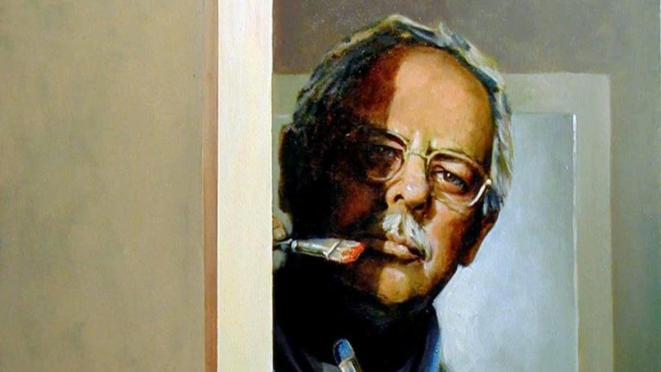 Autoportrait du peintre devant une toile avec ses pinceaux.