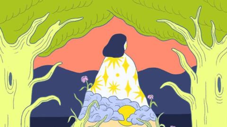 La pochette de l'album; une illustration psychédélique d'une femme qui émerge du paysage