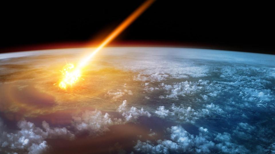 Une météorite entre en collision avec la Terre, provoquant un faisceau de feu.