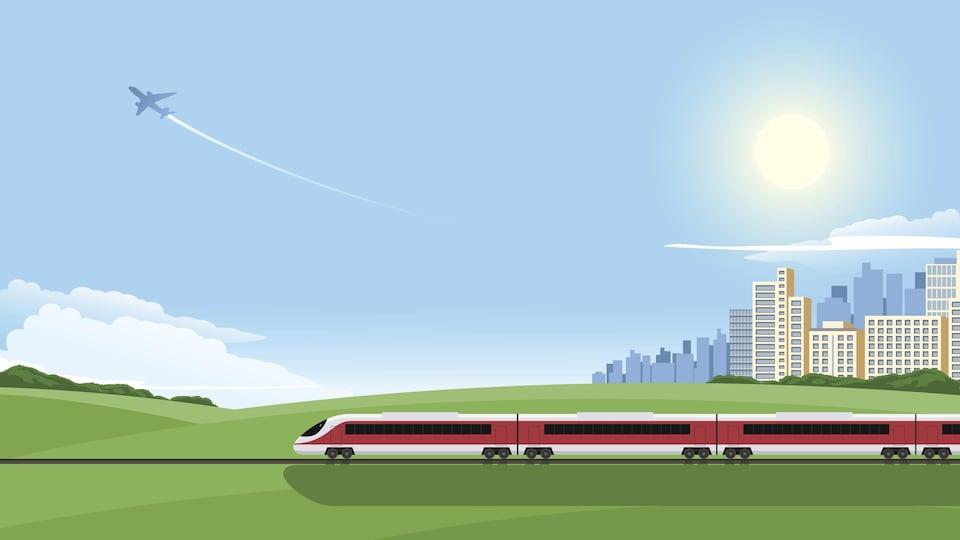 Un dessin montre un train en marche au sol et un avion en plein vol dans le ciel.