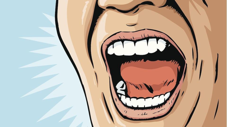 Un dessin montre un homme qui crie.