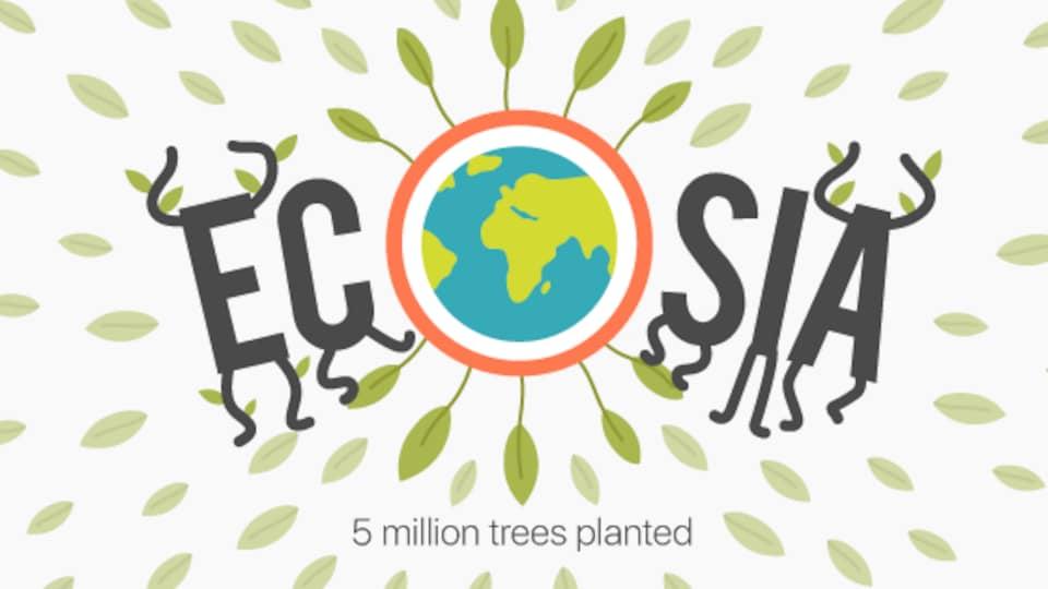 La page d'accueil du moteur de recherche écologique Ecosia, fondé par un Allemand.