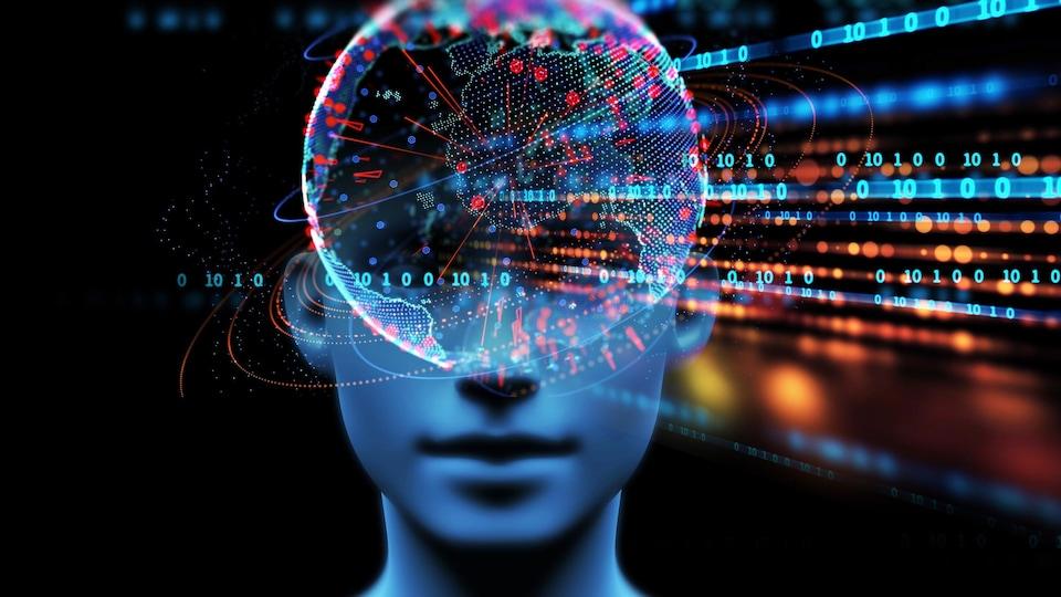 Une illustration numérique montre un visage et des données.